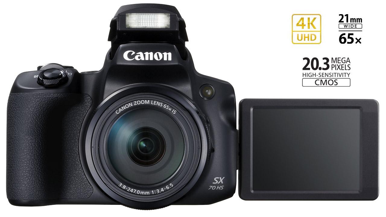 Canon PowerShot SX70 HS: zoom ottico 65x, filmati 4K e nuovo mirino OLED da 2,36 milioni di punti